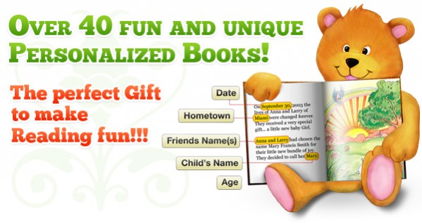 Create-A-Book personalized book example with teddy bear